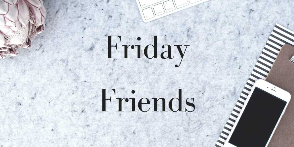 Desk with phone, notepad and keyboard and the words 'Friday Friends' overlaid