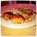 Oven-roasted Lemon-Pepper Chicken with Fennel and Blue-Cheese Mashed Sunrise Potatoes