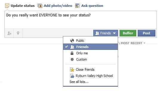 Facebook: Status Update Options