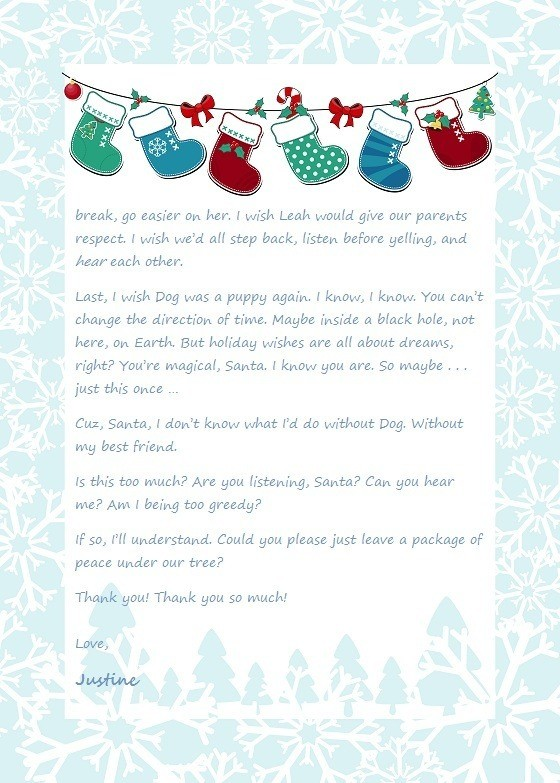 Justine's Christmas Letter