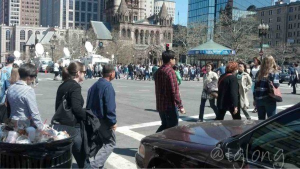 Boston: busy city on a beautiful Sunday afternoon.