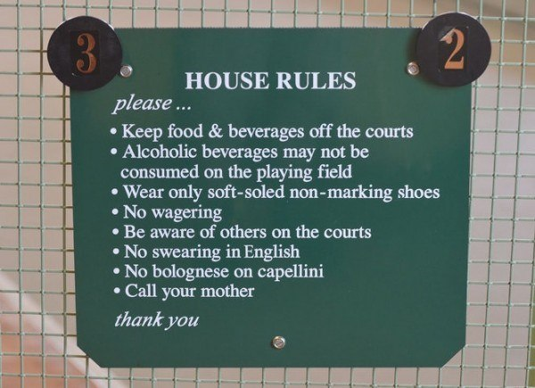 Bocce rules sign