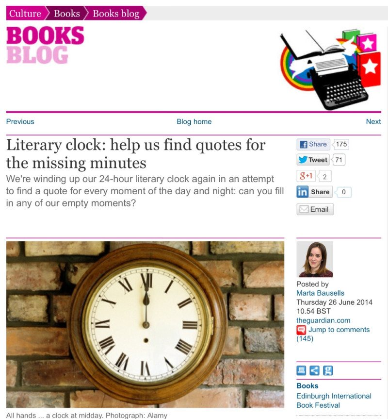 The Guardian: Literary Clock