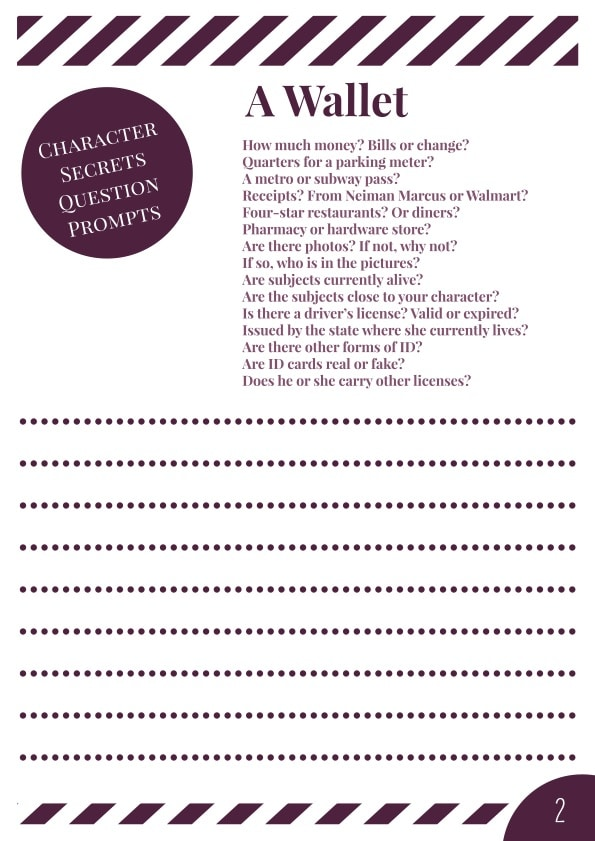 Characters' Secrets Workbook - Page 2