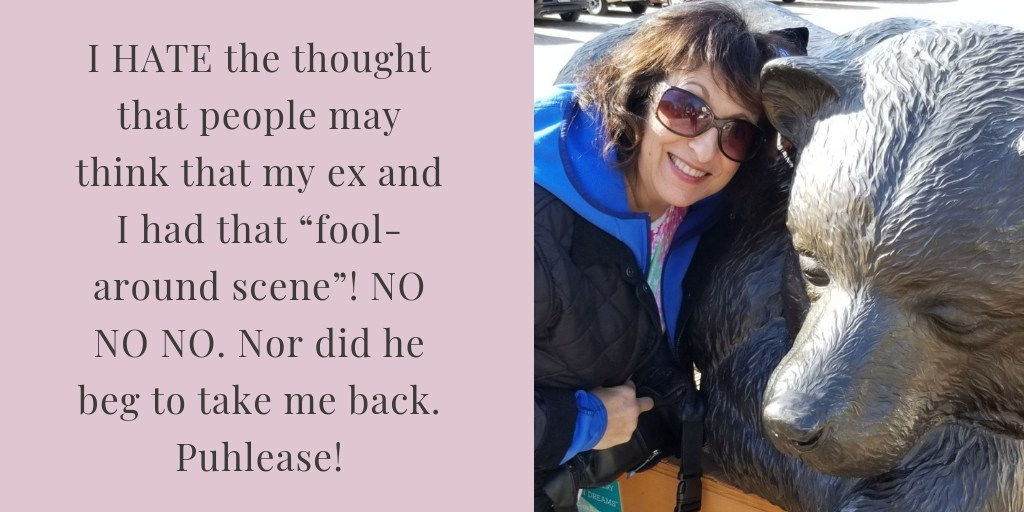 "A picture of Mindy Pollack-Fusi alongside the quote ""I HATE the thought that people may think that my ex and I had that ""fool-around scene""! NO NO NO. Nor did he beg to take me back. Puhlease!"""