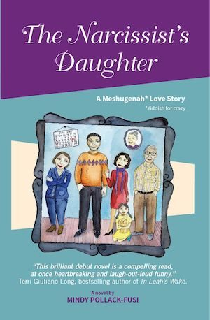 Book cover of The Narcissist's Daughter showing the title and an illustrated family portrait showing two men, two women and a little girl