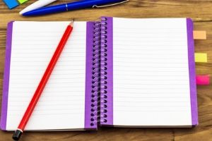 Planner with purple edges and some sticky tabs at the side. A red pencil rests on top.